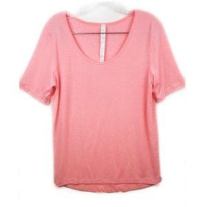 Lululemon pink and white polka dot t-shirt